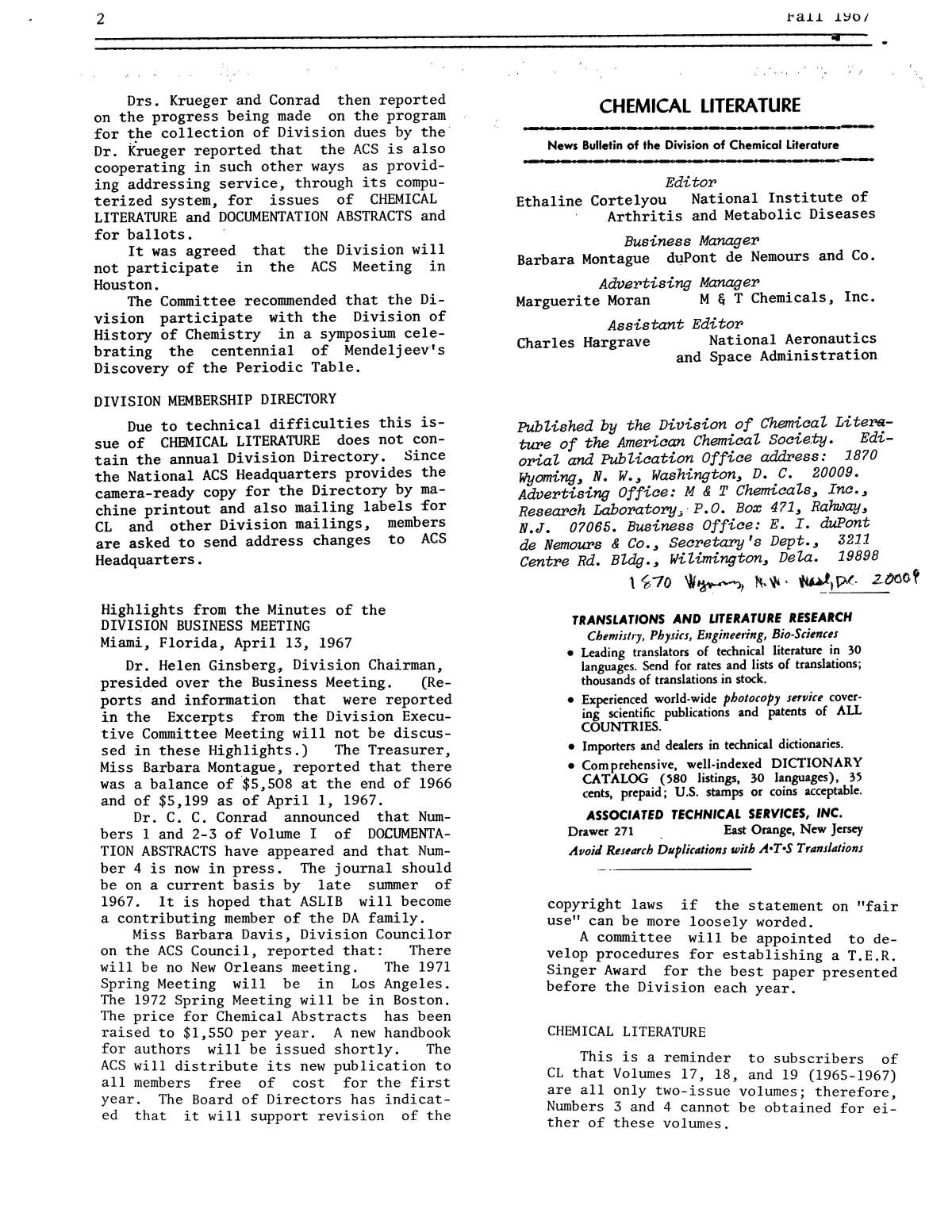 Chemical Literature, Volume 19, Number 2, Fall 1967                                                                                                      2