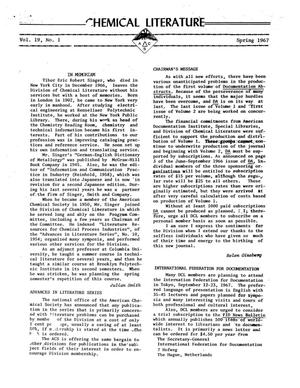 Primary view of object titled 'Chemical Literature, Volume 19, Number 1, Spring 1967'.