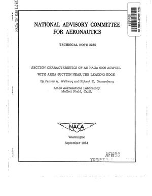 Primary view of object titled 'Section characteristics of an NACA 0006 airfoil with area suction near the leading edge'.