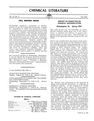 Chemical Literature, Volume 16, Number 03, Fall 1964