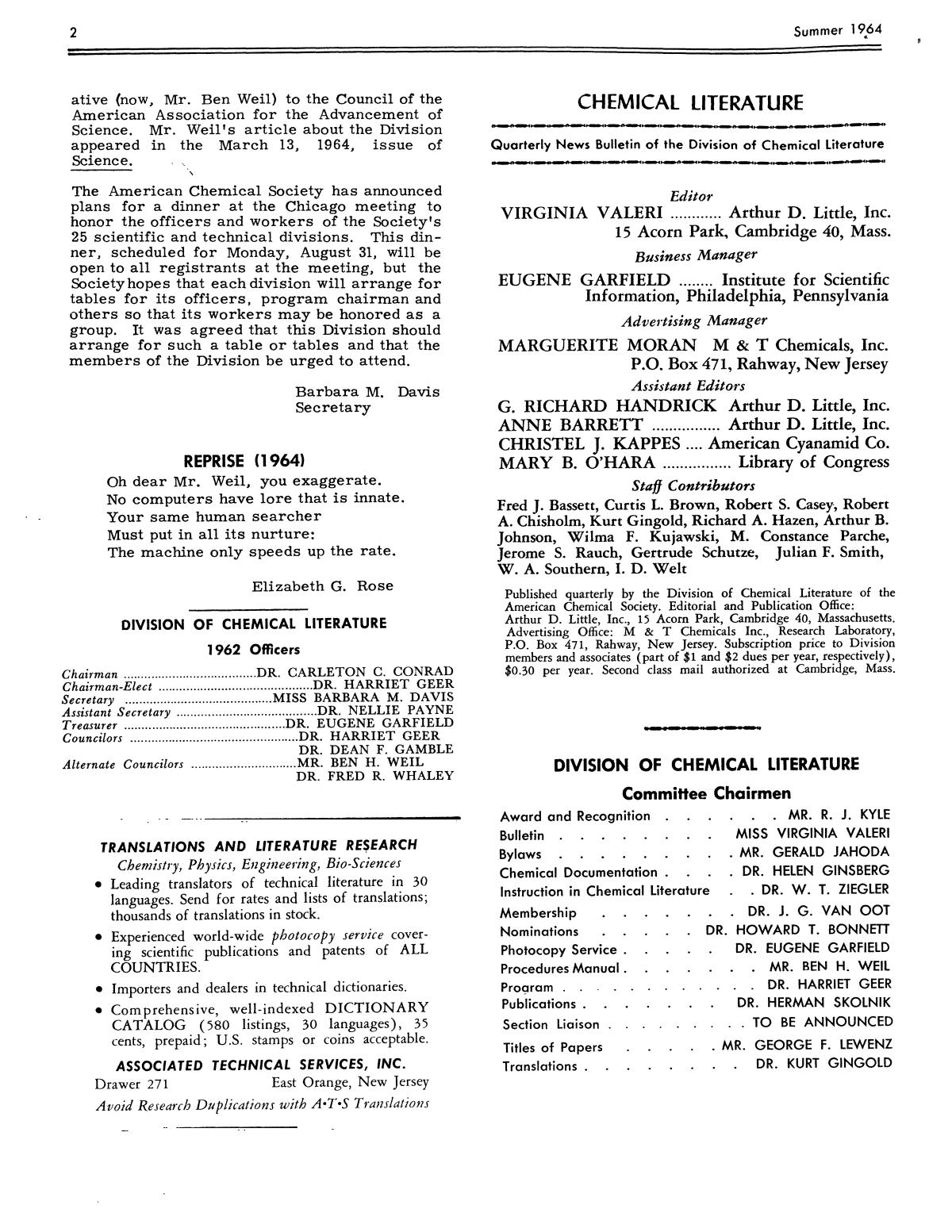 Chemical Literature, Volume 16, Number 2, Summer 1964                                                                                                      2