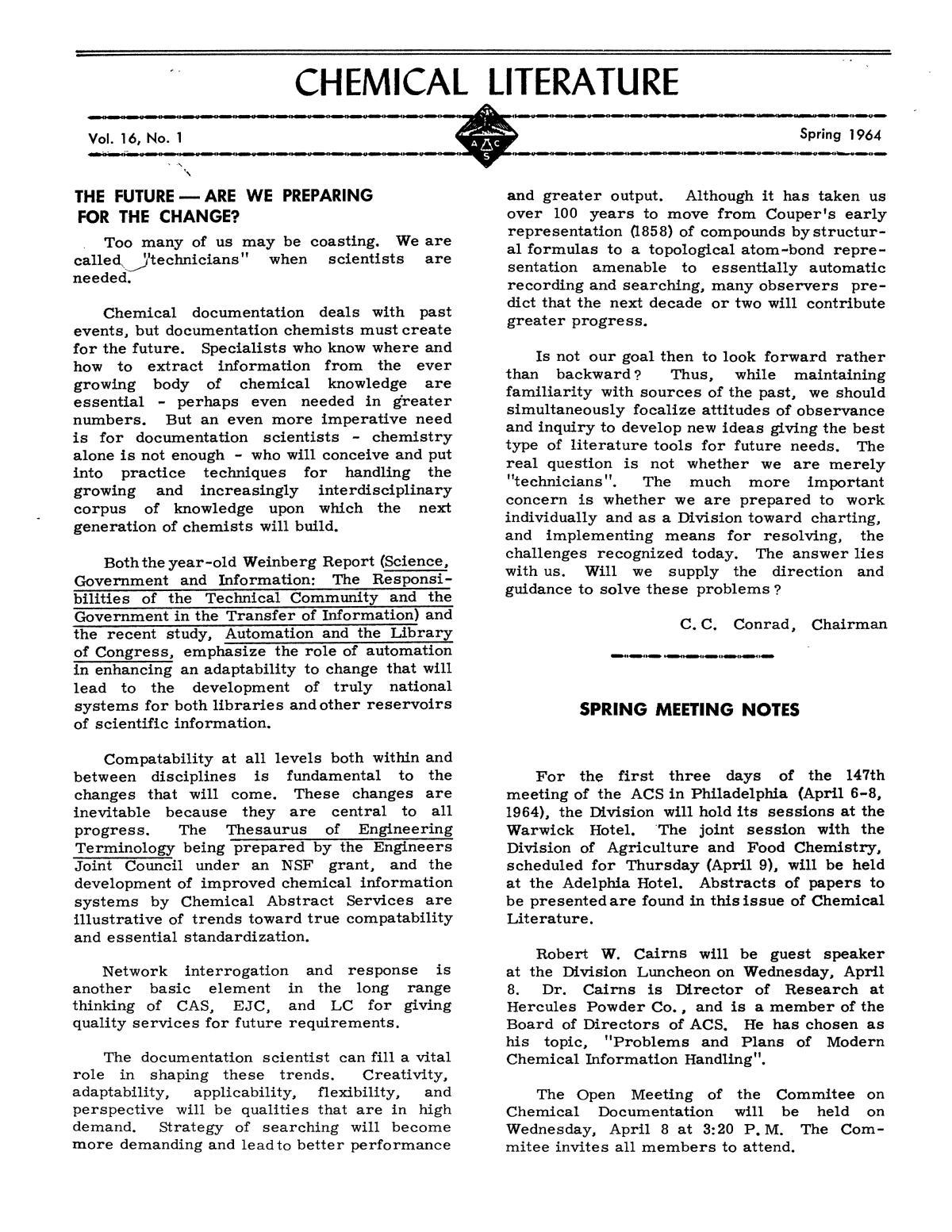 Chemical Literature, Volume 16, Number 1, Spring 1964 - Digital Library