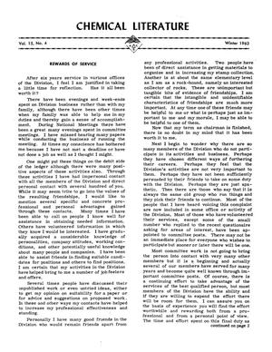 Primary view of object titled 'Chemical Literature, Volume 15, Number 4, Winter 1963'.