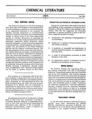 Primary view of object titled 'Chemical Literature, Volume 15, Number 3, Fall 1963'.