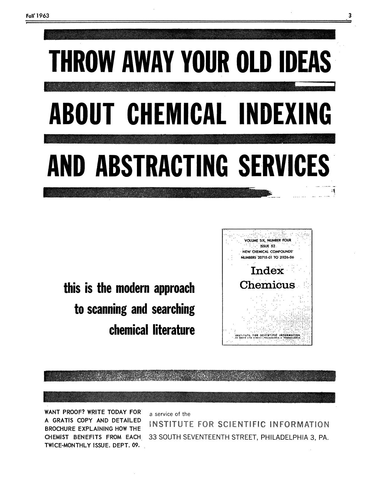 Chemical Literature, Volume 15, Number 3, Fall 1963                                                                                                      3