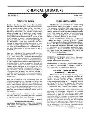 Primary view of object titled 'Chemical Literature, Volume 14, Number 4, Winter 1962'.