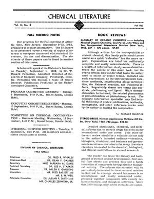 Primary view of object titled 'Chemical Literature, Volume 14, Number 3, Fall 1962'.