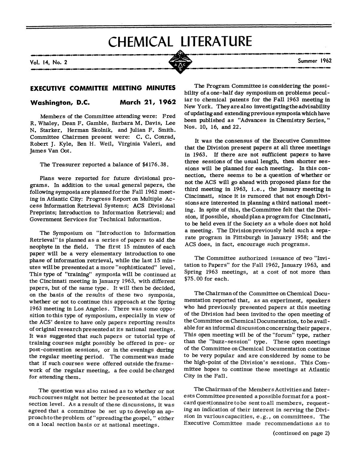 Chemical Literature, Volume 14, Number 2, Summer 1962                                                                                                      1