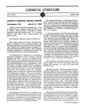 Primary view of Chemical Literature, Volume 14, Number 2, Summer 1962