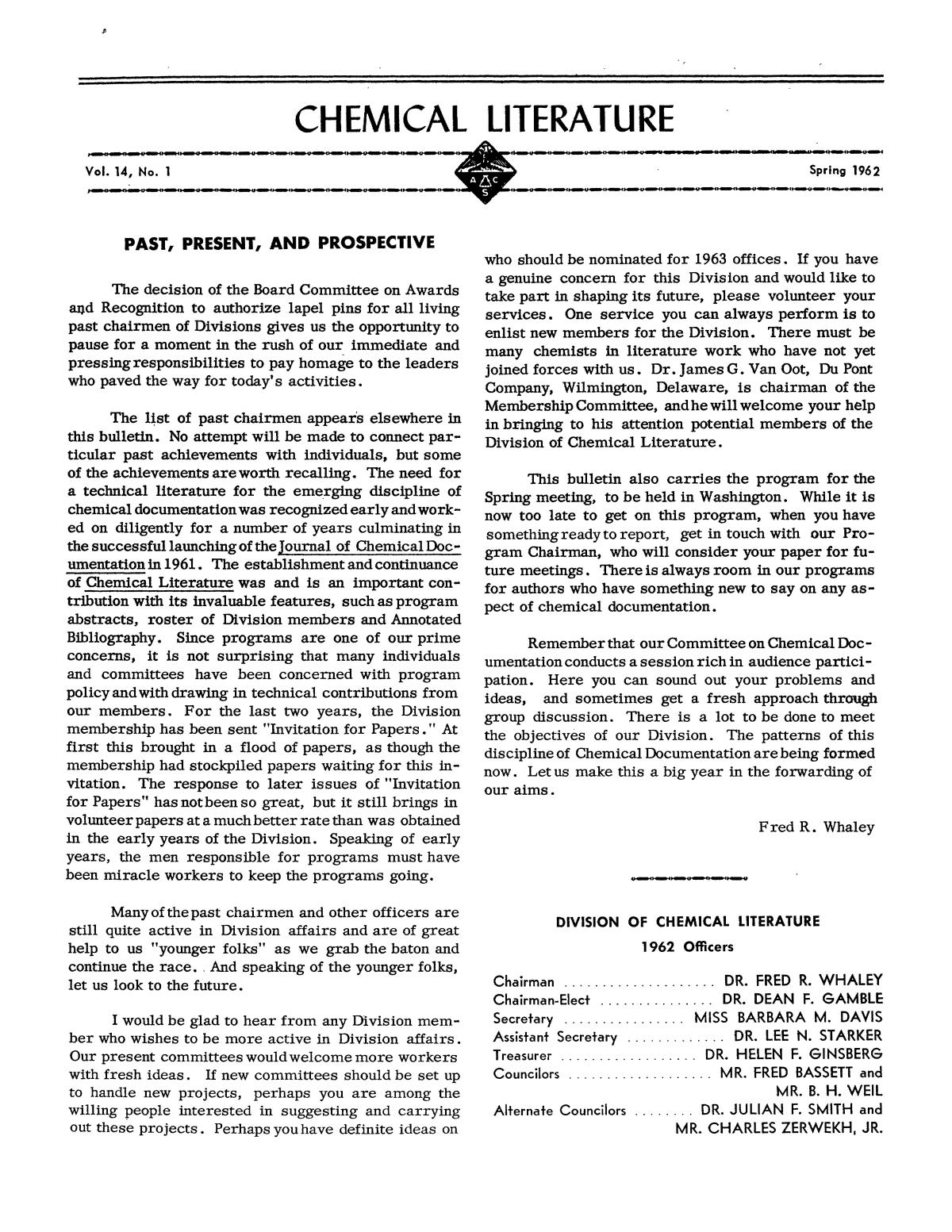 Chemical Literature, Volume 14, Number 1, Spring 1962                                                                                                      1