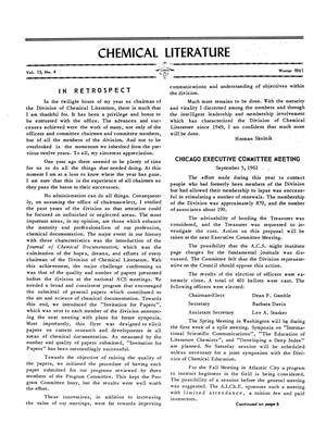 Chemical Literature, Volume 13, Number 04, Winter 1961