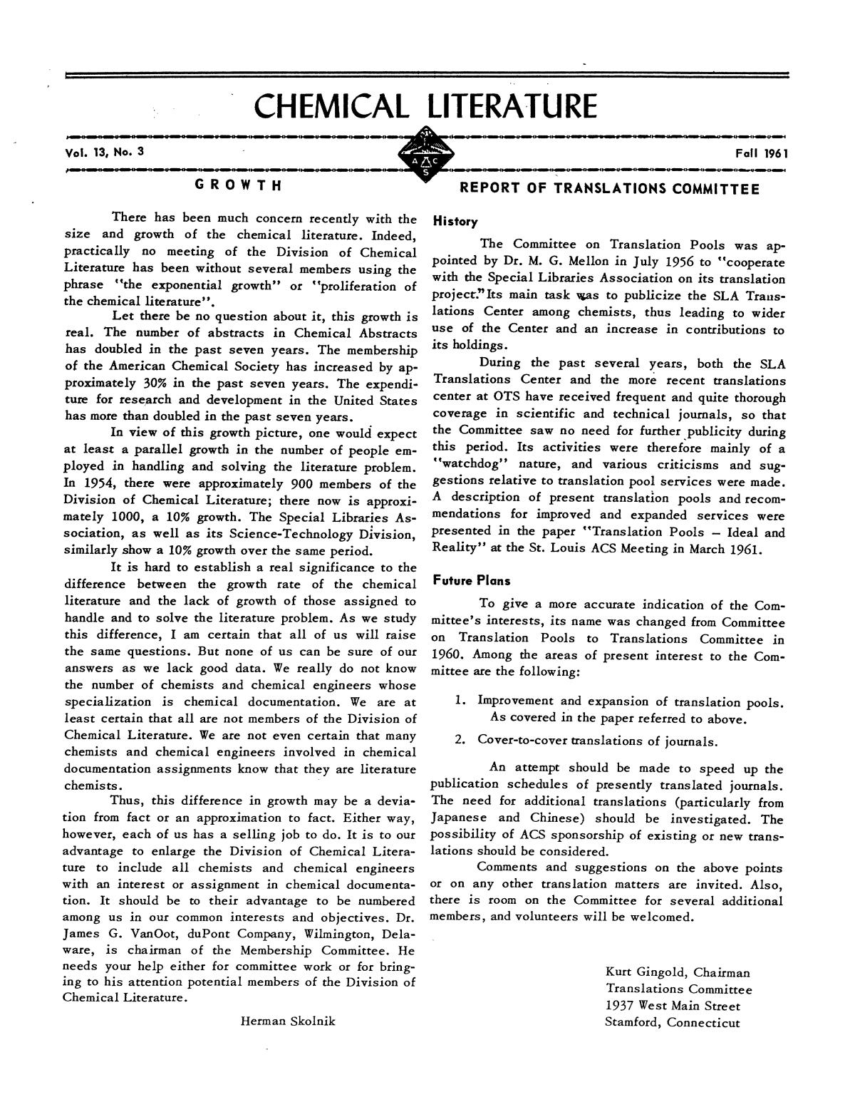 Chemical Literature, Volume 13, Number 3, Fall 1961                                                                                                      1