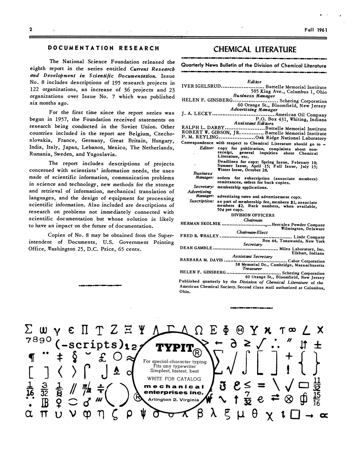Chemical Literature, Volume 13, Number 3, Fall 1961                                                                                                      2