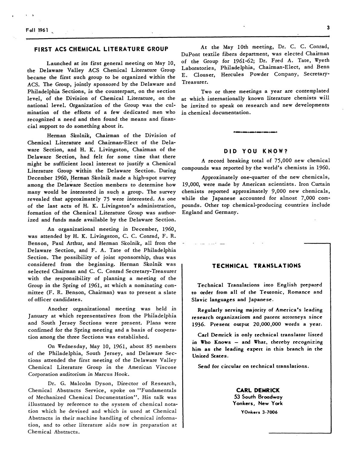 Chemical Literature, Volume 13, Number 3, Fall 1961                                                                                                      3