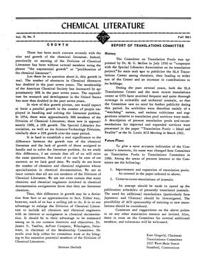 Chemical Literature, Volume 13, Number 3, Fall 1961
