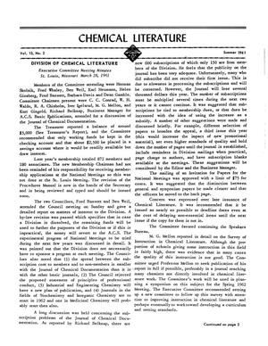 Primary view of object titled 'Chemical Literature, Volume 13, Number 2, Summer 1961'.