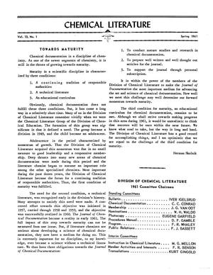 Primary view of object titled 'Chemical Literature, Volume 13, Number 1, Spring 1961'.