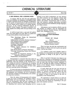 Primary view of object titled 'Chemical Literature, Volume 12, Number 4, Winter 1960'.