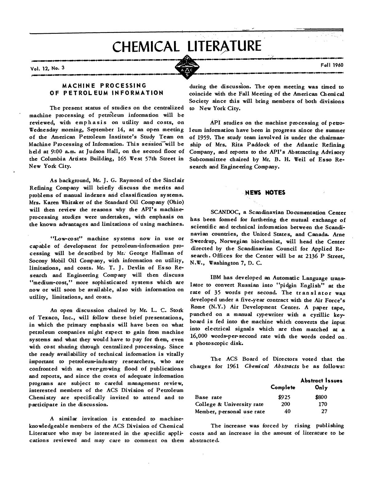 Chemical Literature, Volume 12, Number 3, Fall 1960                                                                                                      1