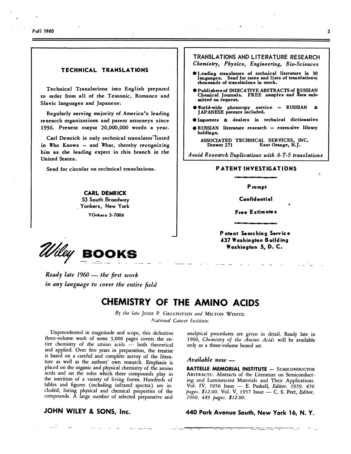 Chemical Literature, Volume 12, Number 3, Fall 1960                                                                                                      3