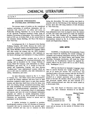 Chemical Literature, Volume 12, Number 3, Fall 1960