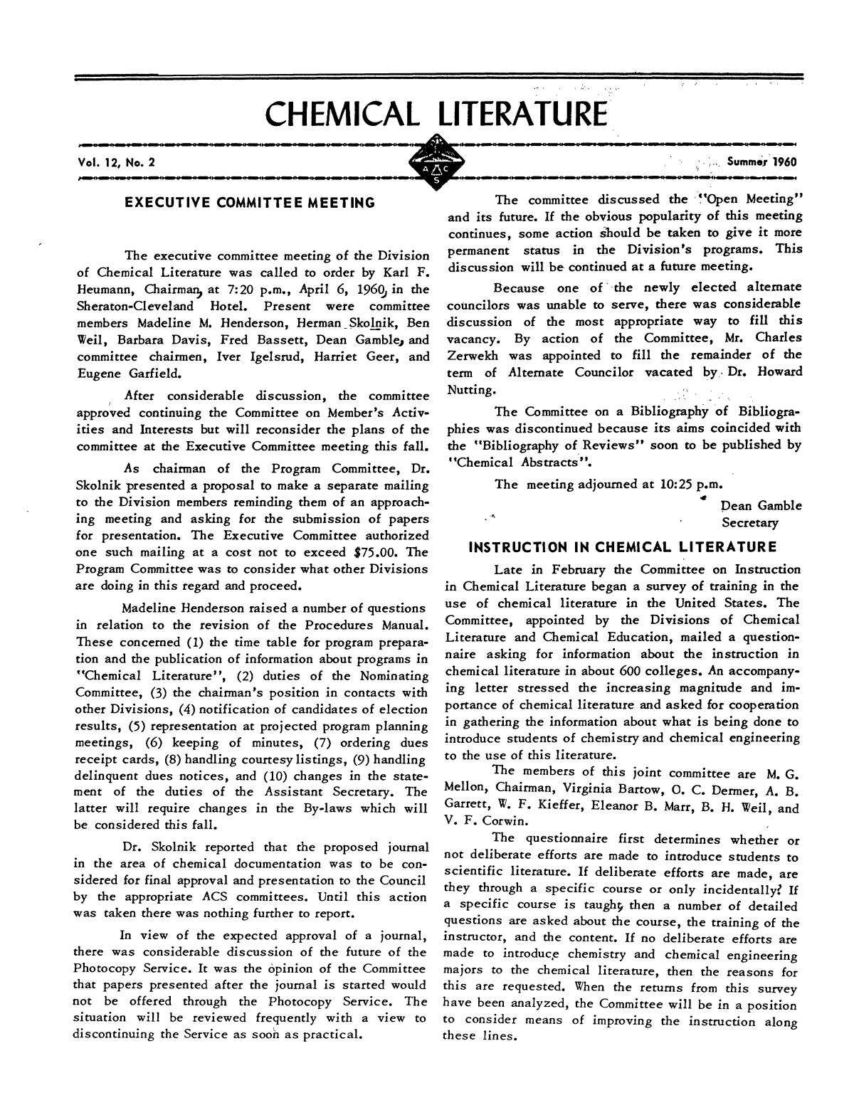 Chemical Literature, Volume 12, Number 2, Summer 1960                                                                                                      1