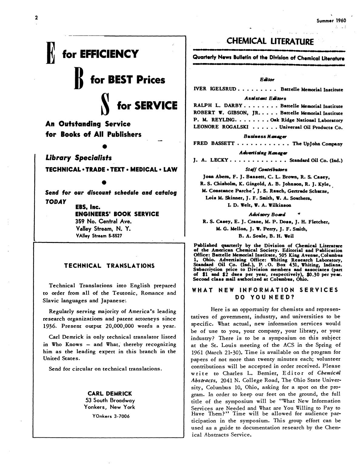 Chemical Literature, Volume 12, Number 2, Summer 1960                                                                                                      2