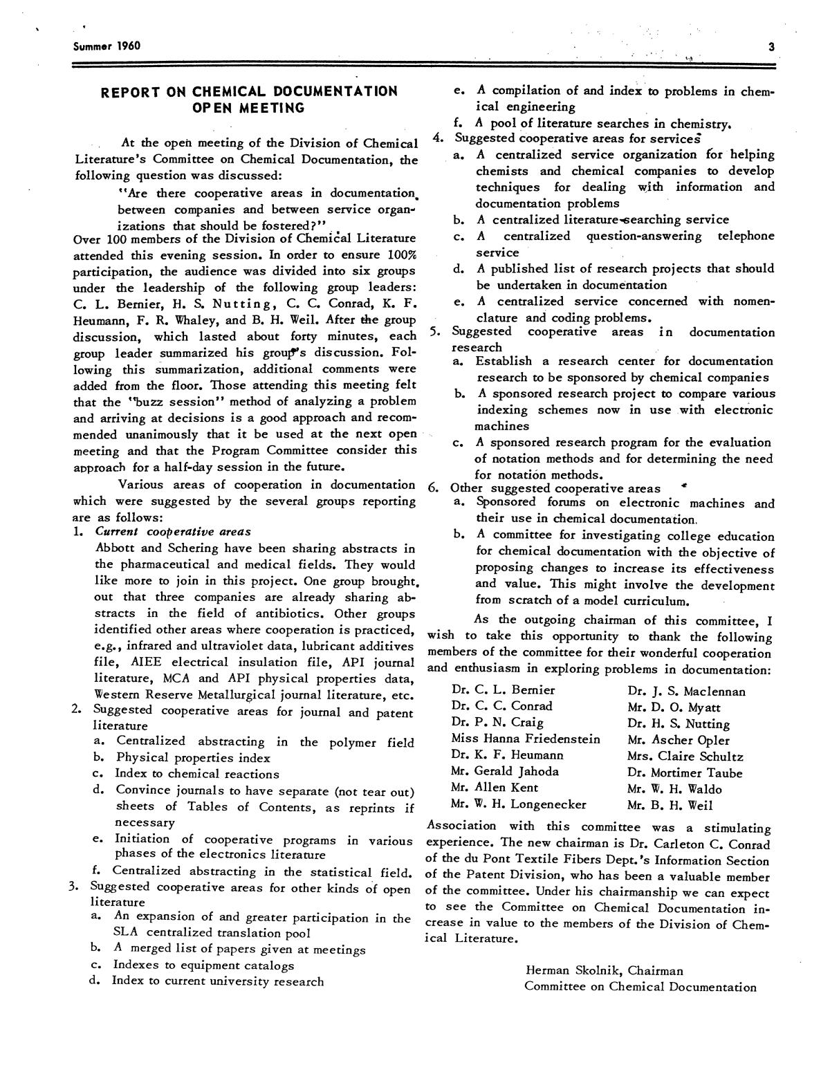 Chemical Literature, Volume 12, Number 2, Summer 1960                                                                                                      3