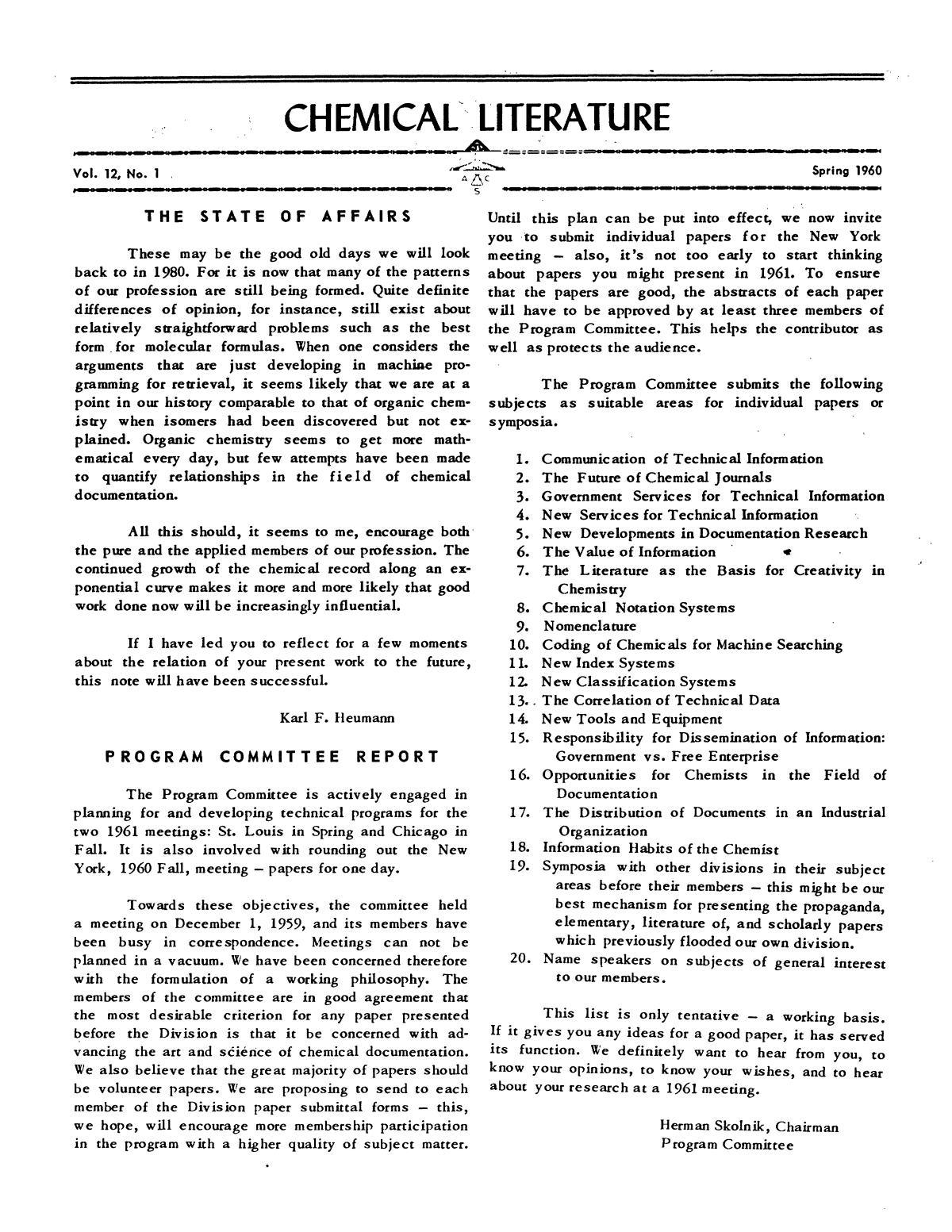 Chemical Literature, Volume 12, Number 1, Spring 1960                                                                                                      1