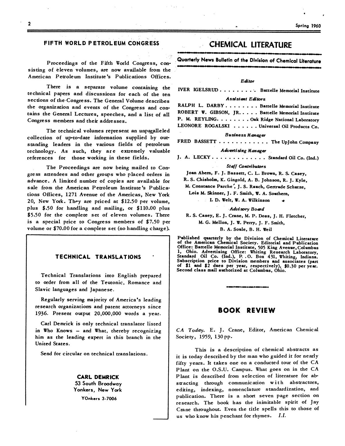 Chemical Literature, Volume 12, Number 1, Spring 1960                                                                                                      2