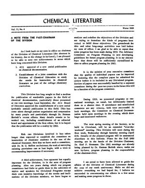 Primary view of object titled 'Chemical Literature, Volume 11, Number 4, Winter 1959'.