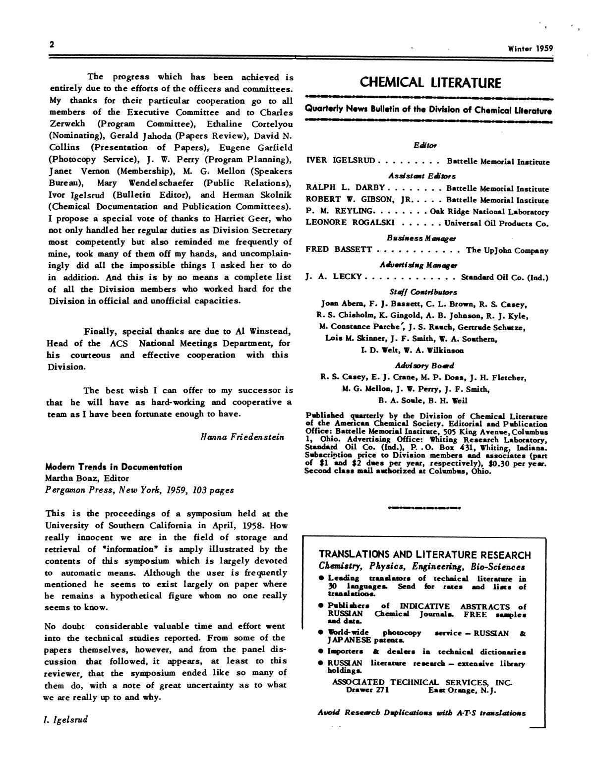Chemical Literature, Volume 11, Number 4, Winter 1959                                                                                                      2