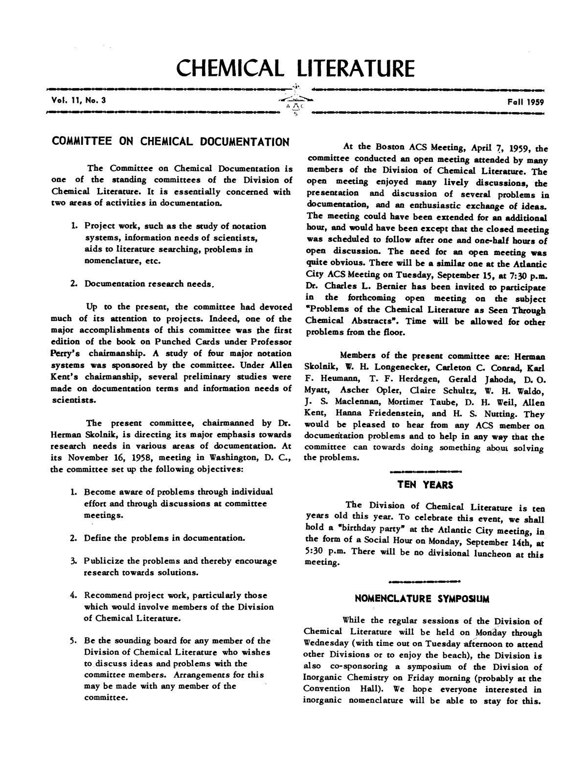 Chemical Literature, Volume 11, Number 3, Fall 1959                                                                                                      1