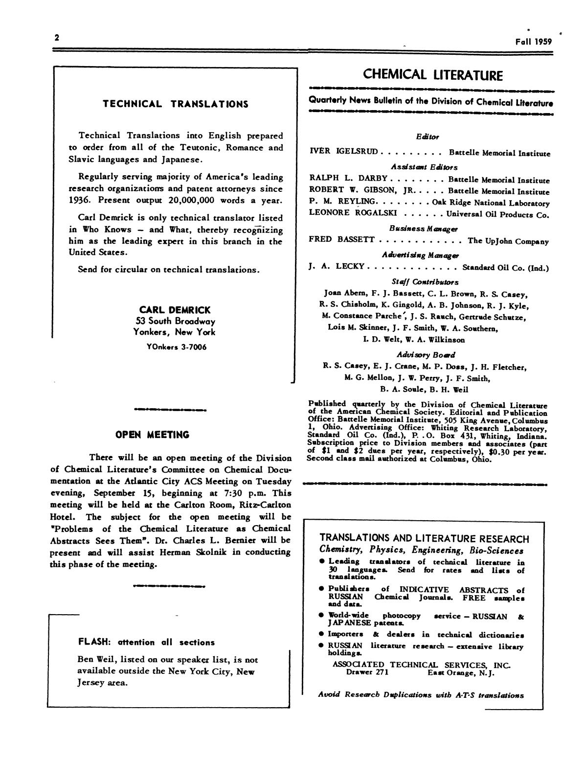 Chemical Literature, Volume 11, Number 3, Fall 1959                                                                                                      2