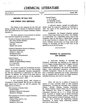 Primary view of object titled 'Chemical Literature, Volume 11, Number 2, Summer 1959'.