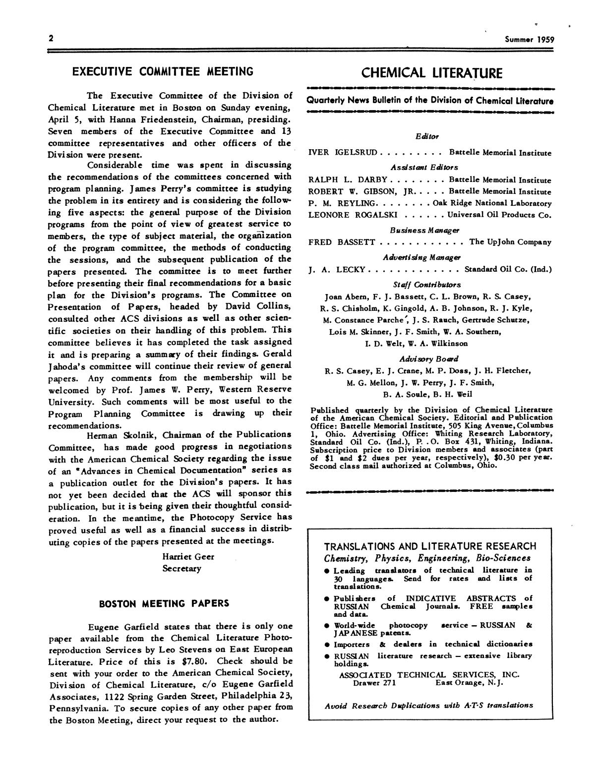 Chemical Literature, Volume 11, Number 2, Summer 1959                                                                                                      2