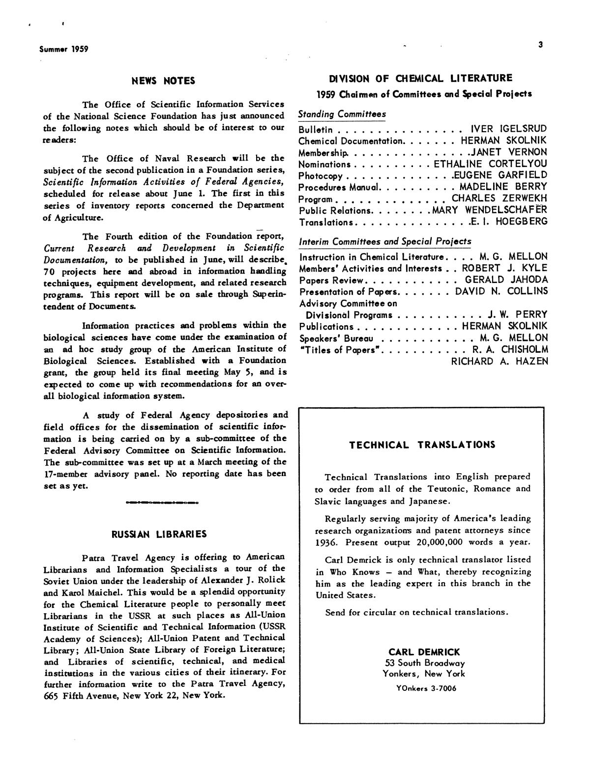 Chemical Literature, Volume 11, Number 2, Summer 1959                                                                                                      3