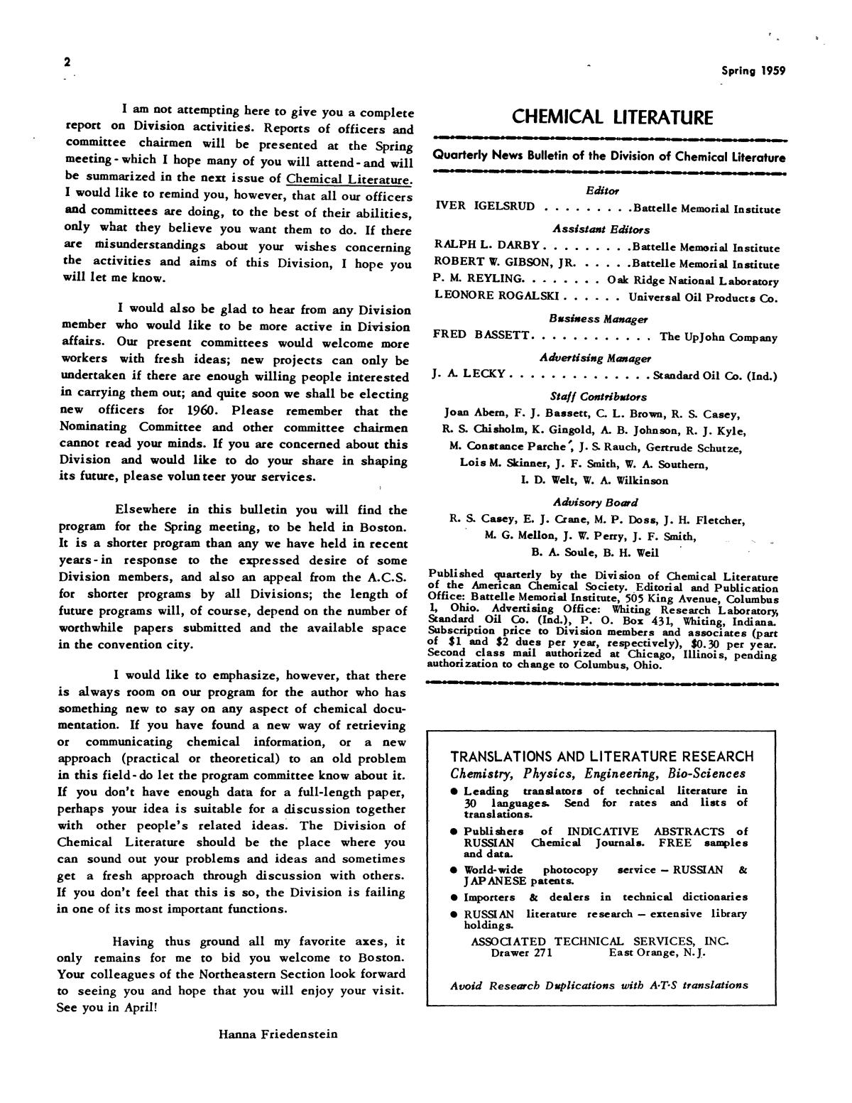 Chemical Literature, Volume 11, Number 1, Spring 1959                                                                                                      2