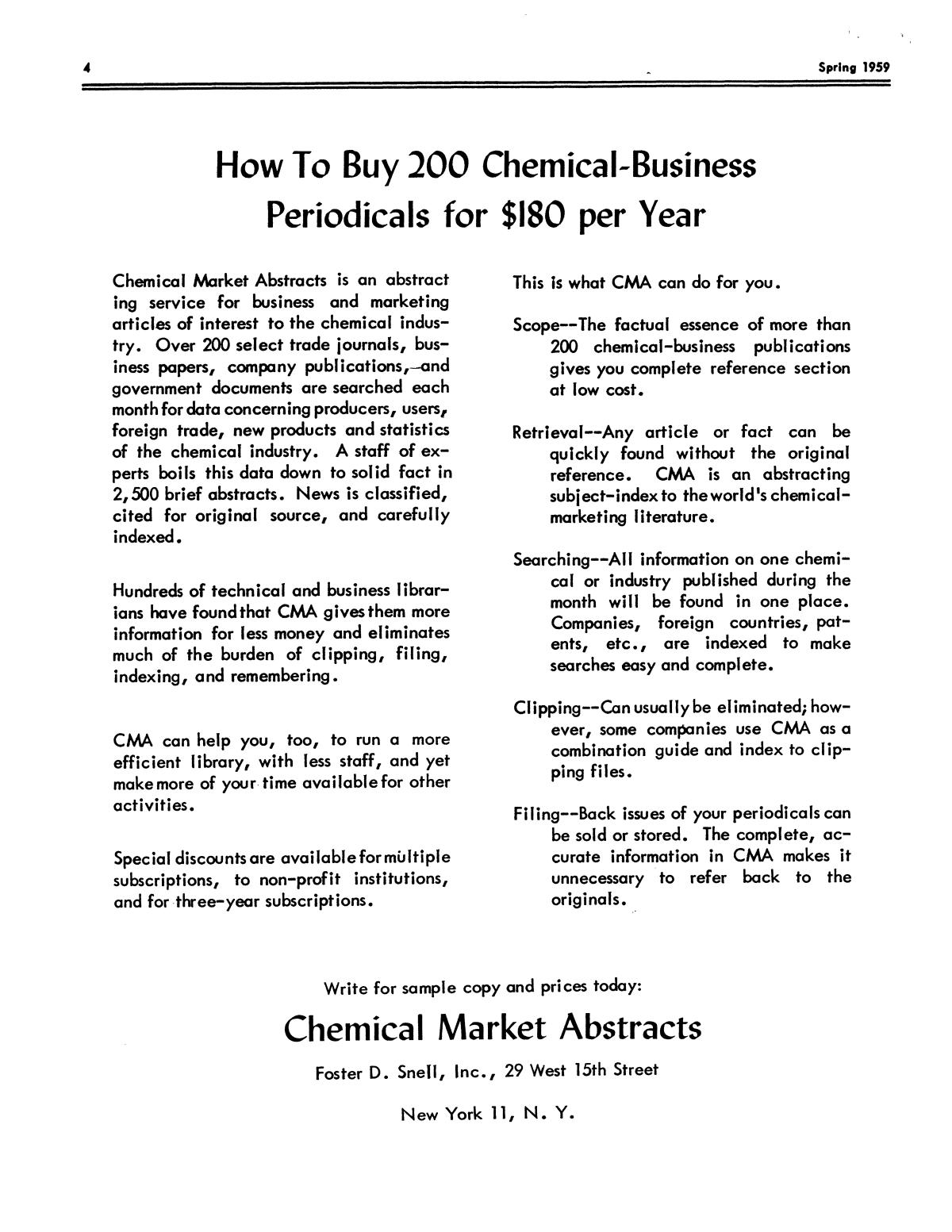 Chemical Literature, Volume 11, Number 1, Spring 1959                                                                                                      4