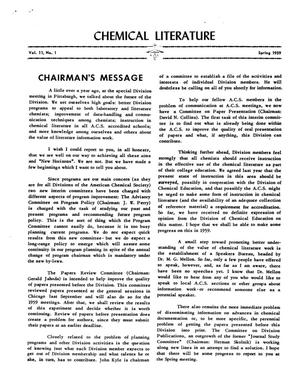 Chemical Literature, Volume 11, Number 01, Spring 1959