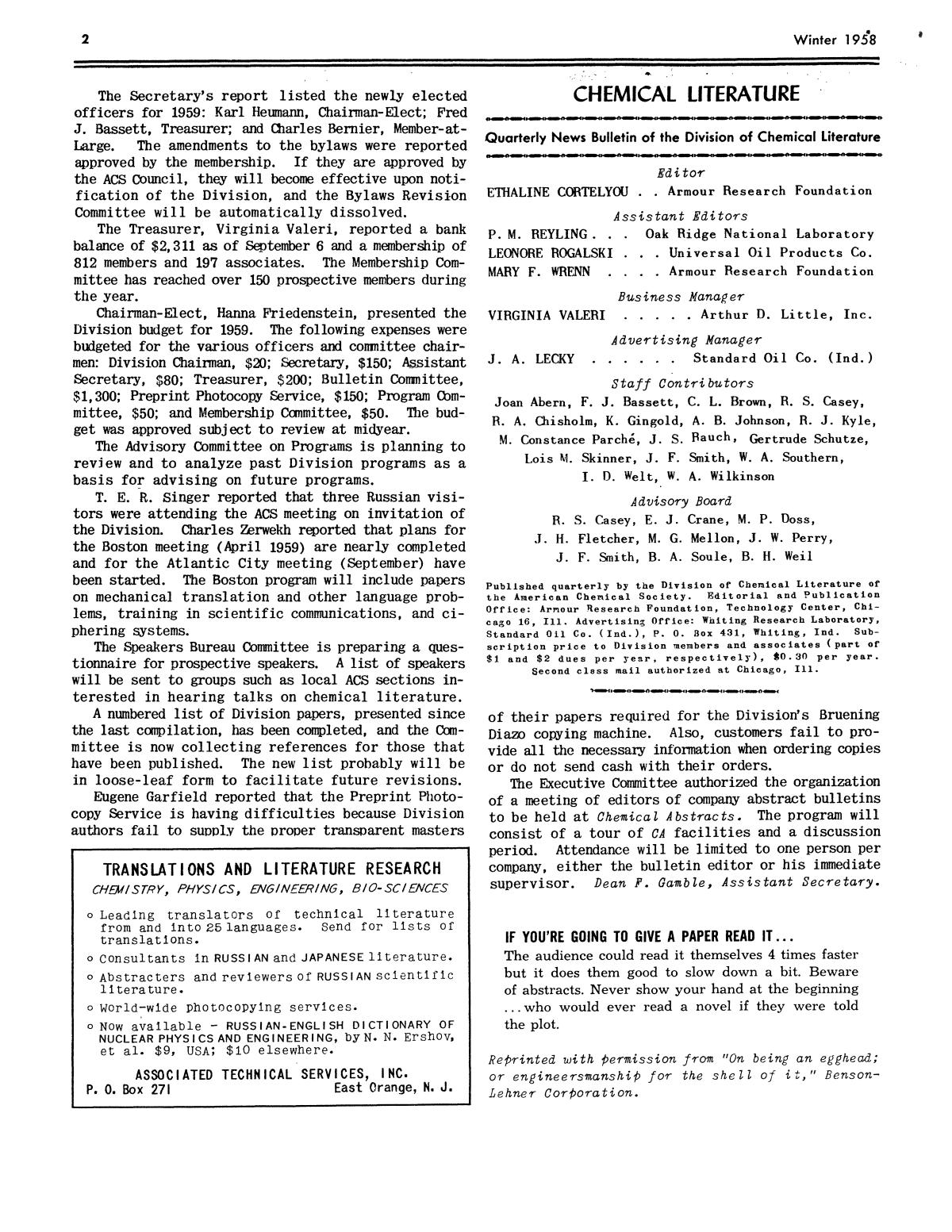 Chemical Literature, Volume 10, Number 4, Winter 1958                                                                                                      2