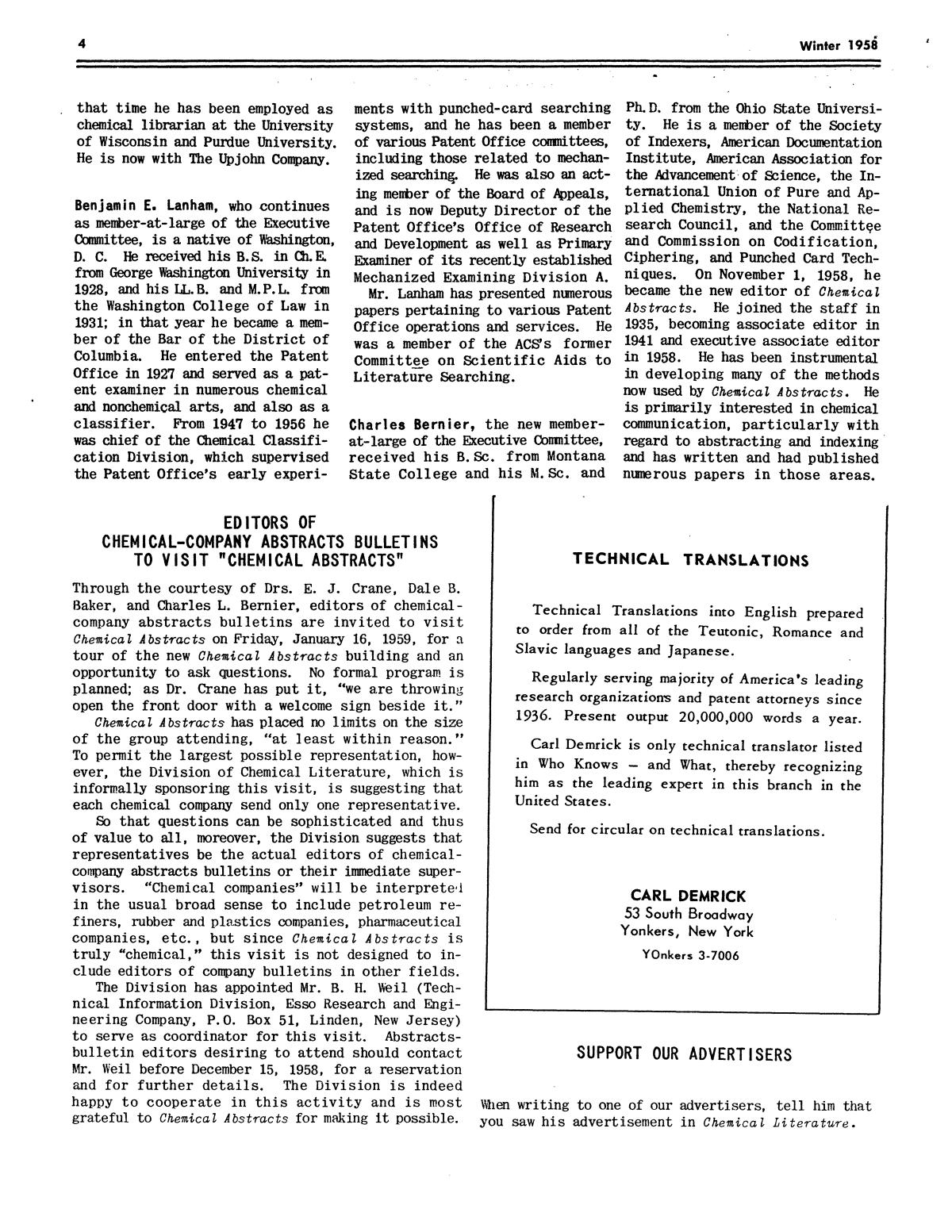 Chemical Literature, Volume 10, Number 4, Winter 1958                                                                                                      4