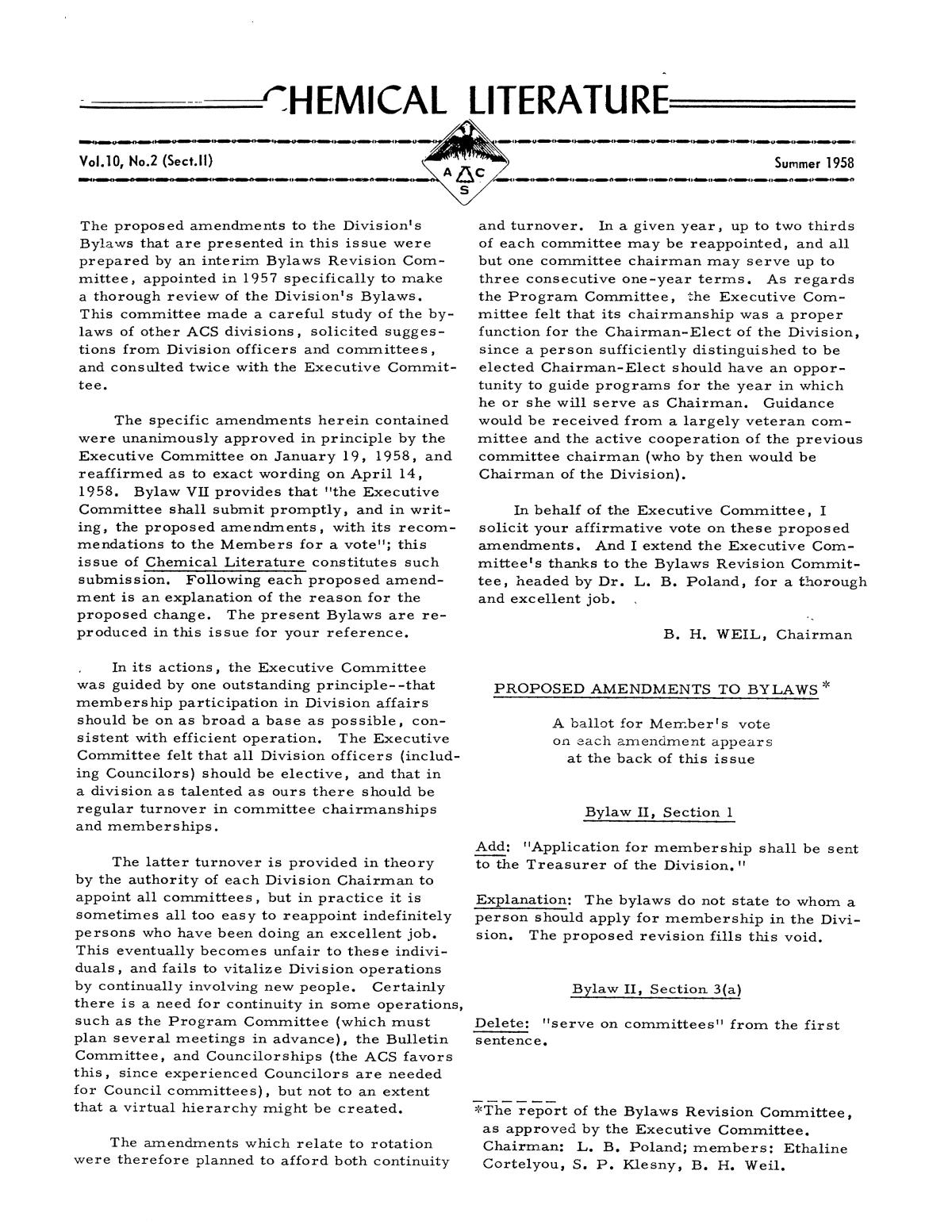 Chemical Literature, Volume 10, Number 2 (Sect. II), Summer 1958                                                                                                      1
