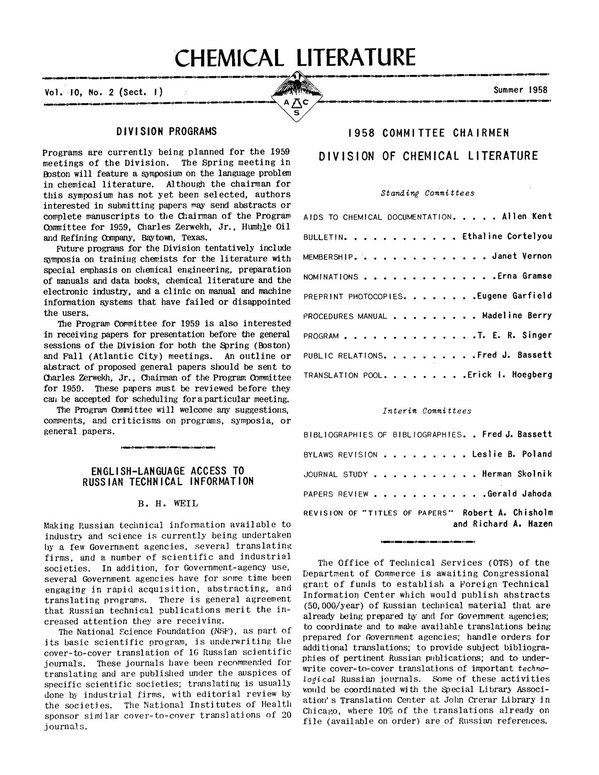 Chemical Literature, Volume 10, Number 2 (Sect. I), Summer 1958                                                                                                      1
