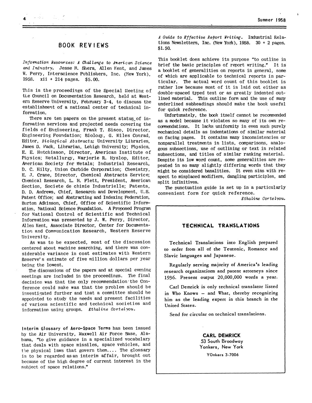 Chemical Literature, Volume 10, Number 2 (Sect. I), Summer 1958                                                                                                      4