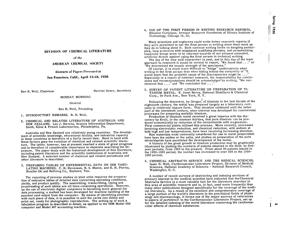 Chemical Literature, Volume 10, Number 1, Spring 1958                                                                                                      3