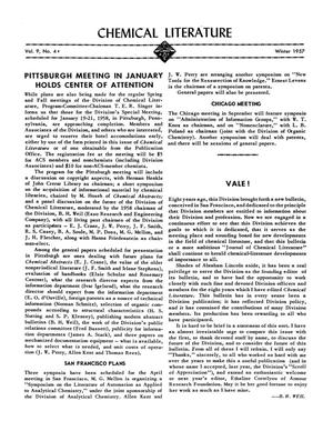 Primary view of object titled 'Chemical Literature, Volume 9, Number 4, Winter 1957'.