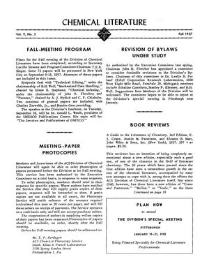 Primary view of object titled 'Chemical Literature, Volume 9, Number 3, Fall 1957'.