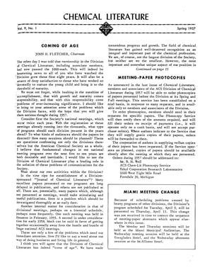 Primary view of object titled 'Chemical Literature, Volume 9, Number 1, Spring 1957'.