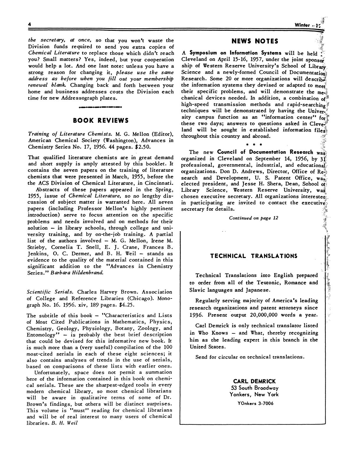 Chemical Literature, Volume 8, Number 4, Winter 1956                                                                                                      4